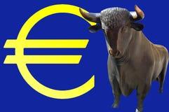 Tjuren och euroen undertecknar Royaltyfri Bild