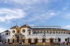Tjurfäktningsarena i Seville, Andalusia Arkivfoto