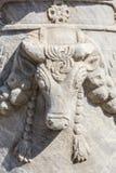 Tjurlättnad på kolonnhuvudet i Knidos, Datca, Mugla, Turkiet Royaltyfri Bild