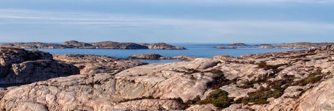 Tjurpannan nature reserve coast view. Panoramic view of the coastline in Tjurpannan nature reserve in Western Sweden stock photography