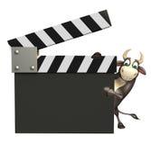 Tjurtecknad filmtecken med clapperbrädet Arkivfoto