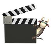 Tjurtecknad filmtecken med clapperbrädet Royaltyfria Foton