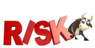 Tjurtecknad filmtecken med risktecknet Arkivbild