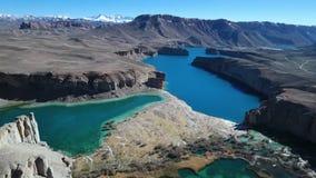 Tjusa blåa sjöar av olika format lager videofilmer