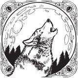 Tjuta Wolf Head med månen och den utsmyckade ramvektorillustrationen royaltyfria bilder