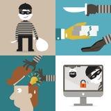 Tjuv och en hacker royaltyfri illustrationer