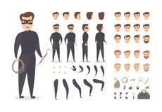 Tjuven som ler det manliga teckenet - ställ in för animering stock illustrationer