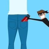 Tjuvficktjuven som stjäler en kreditkort från tillbaka jeans, stoppa i fickan vektor illustrationer