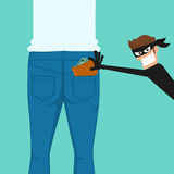 Tjuvficktjuven som stjäler en plånbok från tillbaka jeans, stoppa i fickan stock illustrationer