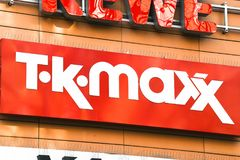 TK Maxx store outside. Berlin, Germany - August 2, 2017: TK Maxx store signage. TK Maxx, often stylised as t·k·maxx, is a subsidiary of the American apparel Royalty Free Stock Images