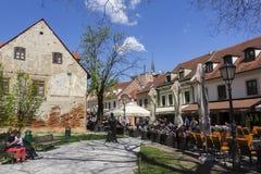 Tkalcicevastraat in de hoofdstad van Zagreb van Kroatië royalty-vrije stock foto's