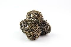 Tkane łozinowe lub bambusowe piłki używać dla dekorować Obraz Royalty Free