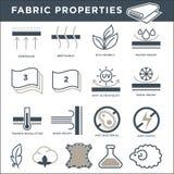 Tkanin własność znaków monochromatyczne minimalistic ilustracje ustawiać ilustracji