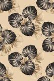 Tkanina wzór z dużymi popielatymi palma liśćmi ilustracja wektor