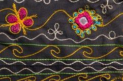 Tkanina z kwiecistym motywu tłem Zdjęcia Stock