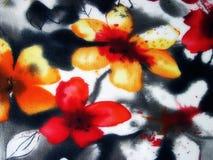 Tkanina z malującymi kwiatami obrazy royalty free