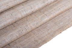 Tkaniny burlap, drapuje, tło, odizolowywający na bielu, ścieżki Zdjęcie Royalty Free