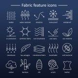 Tkaniny cechy linii ikony Piktogramy z editable uderzeniem dla g Fotografia Stock