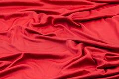 Tkaniny czerwona tekstura Zmięty tkaniny tło Zdjęcie Stock
