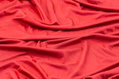 Tkaniny czerwona tekstura Zmięty tkaniny tło Fotografia Stock