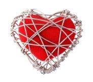 Tkaniny czerwony serce w aluminium drucie Fotografia Stock