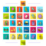 Tkaniny, edukacja, sporty i inna sieci ikona w mieszkaniu, projektują , transport, zwierzę, biznesowe ikony w ustalonej kolekci royalty ilustracja