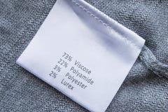 Tkaniny etykietka zdjęcia stock