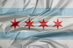 Tkaniny flaga Chicago miasto Chicago jest ludnym miastem w Illinois obrazy royalty free
