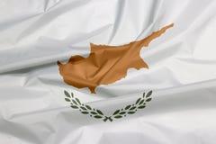 Tkaniny flaga Cypr Zagniecenie cypryjczyk flaga tło obrazy stock