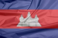 Tkaniny flaga Kambodża Zagniecenie Kambodżański chorągwiany tło zdjęcia royalty free