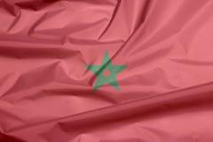 Tkaniny flaga Maroko Zagniecenie marokańczyk flaga tło obraz stock