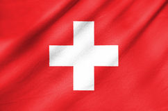 Tkaniny flaga Szwajcaria Obrazy Stock