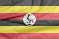 Tkaniny flaga Uganda Zagniecenie ugandyjczyk flaga tło zdjęcie royalty free