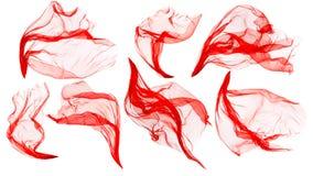 Tkaniny Sukienny spływanie na wiatrze, Latający Podmuchowy Czerwony jedwab, Biały zdjęcie royalty free