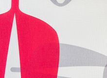 Tkaniny tekstury bielu i czerwieni tło, płótno wzór Fotografia Stock