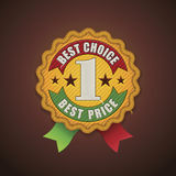 Tkaniny wektorowa najlepsza wyborowa odznaka Obraz Stock