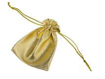 Tkaniny złocista torba Zdjęcia Royalty Free