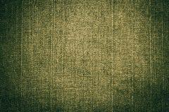 tkaniny zielonych cajgów oliwna tekstura Obrazy Stock