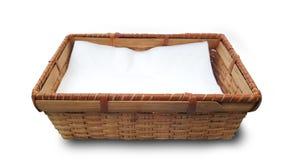 Tkankowy papier w bambusowym koszu Obrazy Royalty Free
