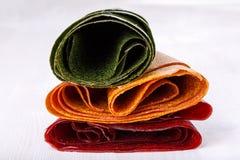 Tklapi wysuszona mashed owocowa braja, Kolorowa owocowa skóra -/ obrazy stock
