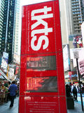TKTS Discount electronic Display. TKTS Discount stand, display tickets to Broadway and Off-Broadway musicals and plays at up to 50% off.Located in Time Square Royalty Free Stock Photo