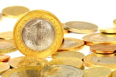 1 TL. Coins isolated over white background Royalty Free Stock Image