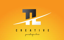 TL T L Letter Modern Logo Design with Yellow Background and Swoo. TL T L Letter Modern Logo Design with Swoosh Cutting the Middle Letters and Yellow Background Royalty Free Stock Images