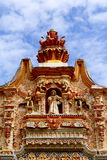 Tlaco facade II. Detail of the facade of the ancient catholic mission of tilaco, located near the city of jalpan de serra in the mexican state of queretaro Royalty Free Stock Images