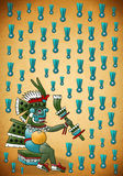 Tlaloc Mayan - Aztec deity of water and rain. Background with paper texture stock illustration