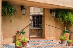 Tlaquepaque architecture in Sedona, Arizona. Inviting architecture, Tlaquepaque Arts and Crafts Village royalty free stock photo