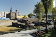 Tlatelolco, Three cultures square in Mexico city,. The square of the Three Cultures in Mexico city. Spanish, Native Mexican and Modern culture Royalty Free Stock Photo