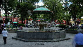 Tlaxcala, Mexico-August 2014: TIME LAPSE-DOLLY IN. Main park in downtown stock footage