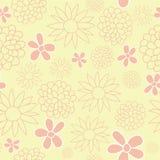 Tle För blommaträdgård för vektor gul för Tea Party design för modell bakgrund royaltyfri illustrationer