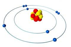 Tlenowy atom z protonem, neutronem i elektronem, 3D Bohr model Obraz Royalty Free